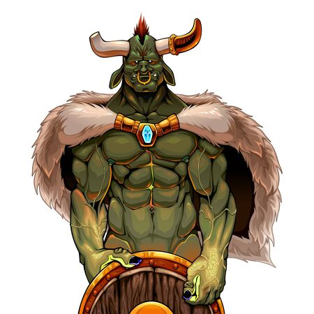 Warrior ogre holding the shield. Vector fantasy isolated character