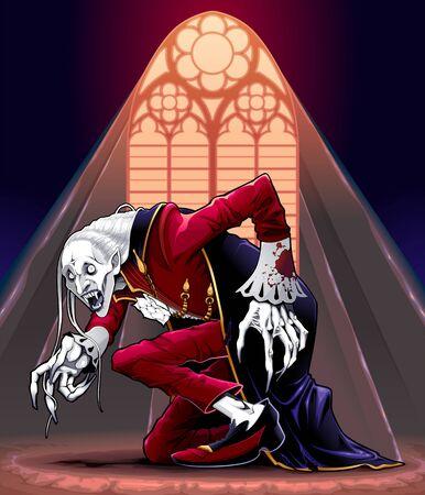 Portrait of a vampire under the sunlight. Vector horror illustration. Vettoriali
