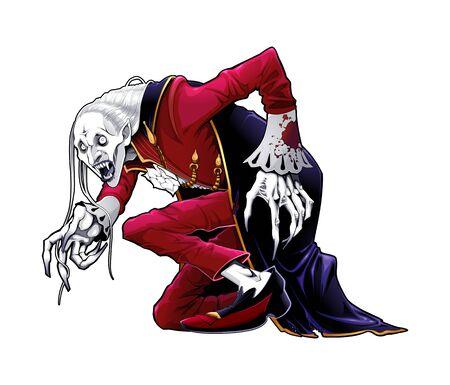 Portrait of a vampire. Vector horror illustration, isolated character. Vettoriali