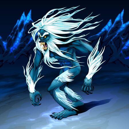 Yeti is walking in the night. Vector horror illustration. Vettoriali