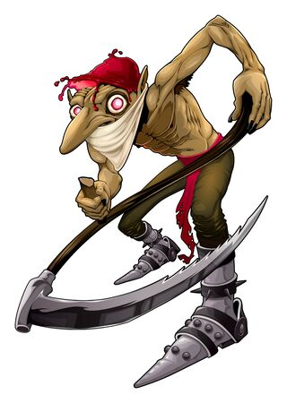 Irish evil goblin called Red Cap. Vector horror isolated character.