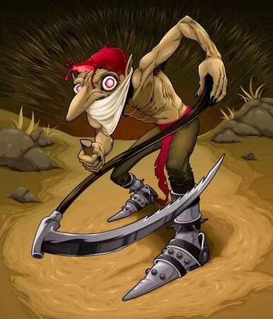 Irish evil goblin called Red Cap. Vector horror illustration.