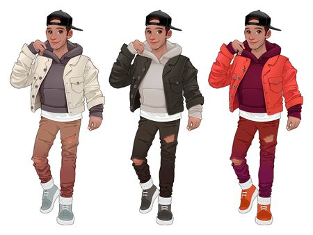 Fashion boy in three different versions. Vector isolated characters