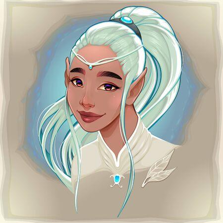 Portrait of a beautiful smiling elf. Vector cartoon fantasy character. Vettoriali