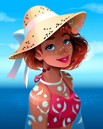Portrait of a beautiful girl with hat. Vector cartoon illustration. Vettoriali