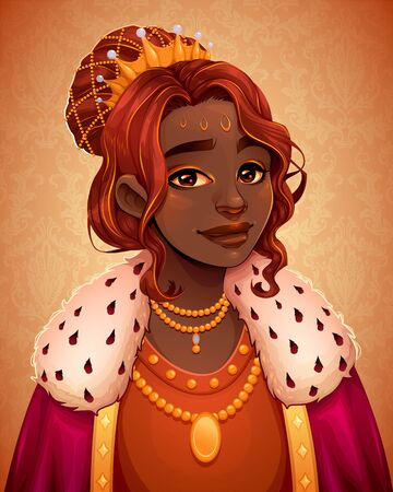 Portrait of a beautiful African queen. Vector cartoon illustration.