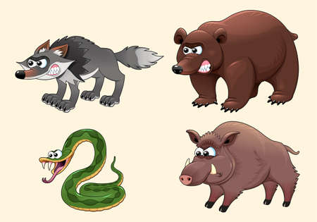 Funny angry forest animals. Cartoon vector characters for children and games.