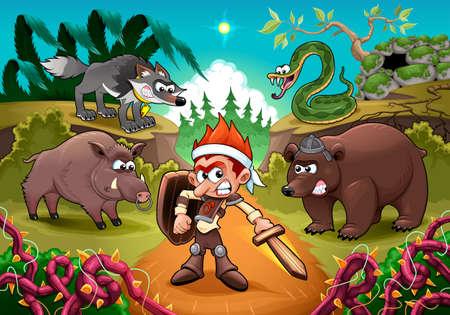 Hero fighting against his enemies. Cartoon vector illustration for children.