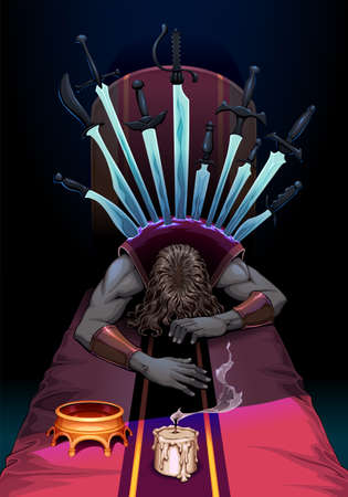 The Ten of Swords in the Tarot indicates a state of mind of maximum suffering, and a sense of total defeat. However, ten being the last number, it portends a rebirth, a new cycle that will open after this energy. Vector illustration