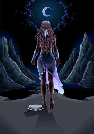 Beautiful girl walking alone in the night. Vector fantasy illustration Vettoriali