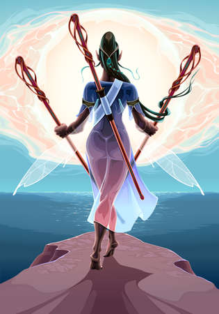 Fairy with three wands near the sea. Vector fantasy illustration Vettoriali