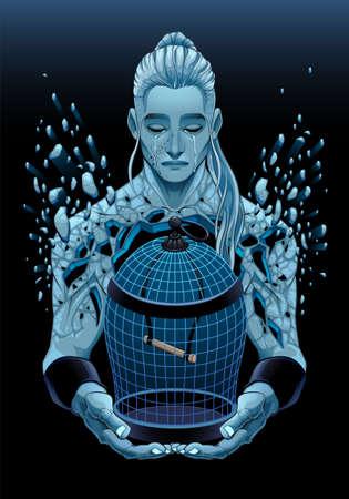 Representation of sadness. Vector fantasy illustration Vettoriali