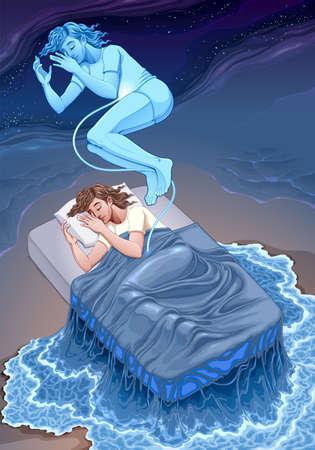 Representation of the dream state. Vector fantasy illustration