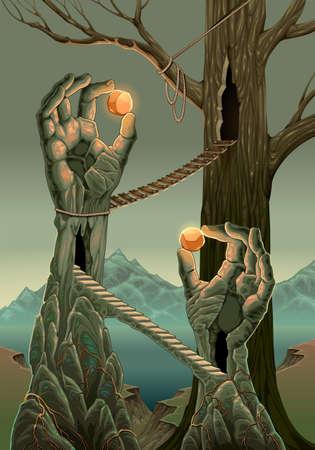 Fantasy landscape with hand statues. Vector cartoon illustration Vettoriali
