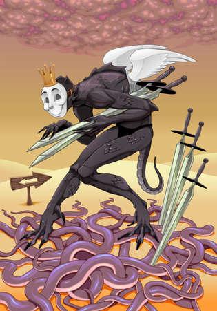 Five of swords, tarot card. Vector illustration