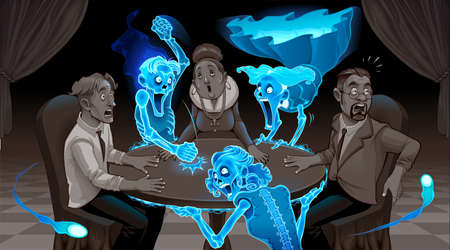 We are not dead. Cartoon representation of a seance. Vector illustration.