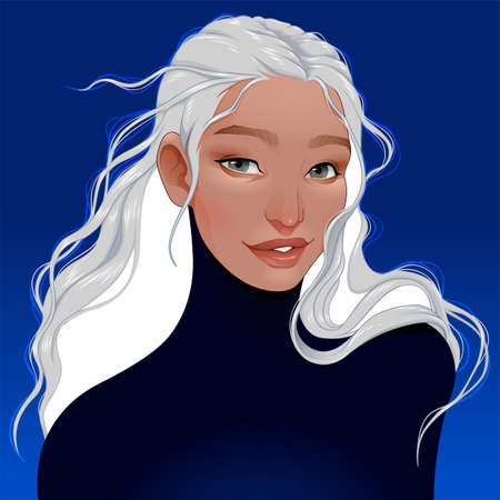 Portrait of a woman with white hair. Vector fantasy illustration. Vettoriali