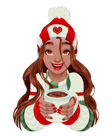 Christmas girl with hot chocolate in her hands. Vector isolated character Vettoriali