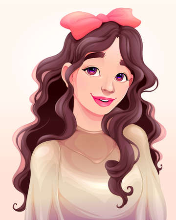 Portrait of a beautiful young girl. Vector cartoon illustration Vettoriali