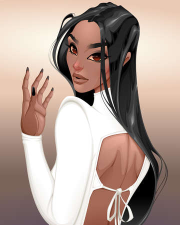 Beautiful girl dressed in white illustration.
