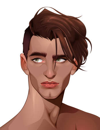 Portrait of a beautiful boy illustration.