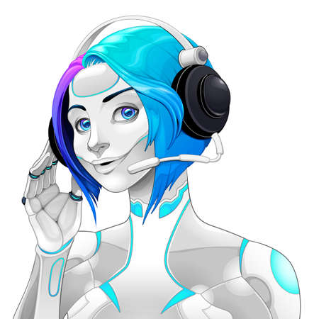 Female android with headphones. Vector isolated character