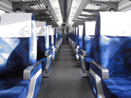 chairs: row of blue train seats