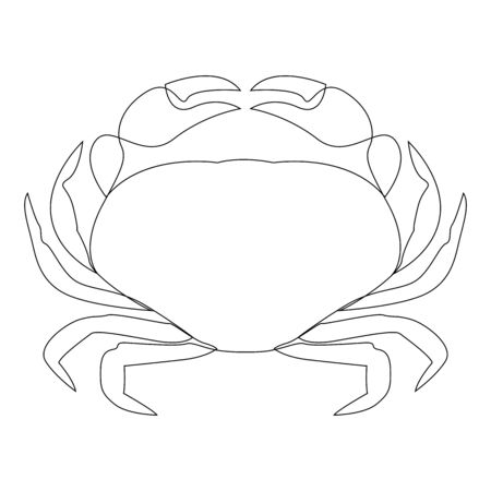 Crab illustration drawn by one line. Minimalist style vector illustration