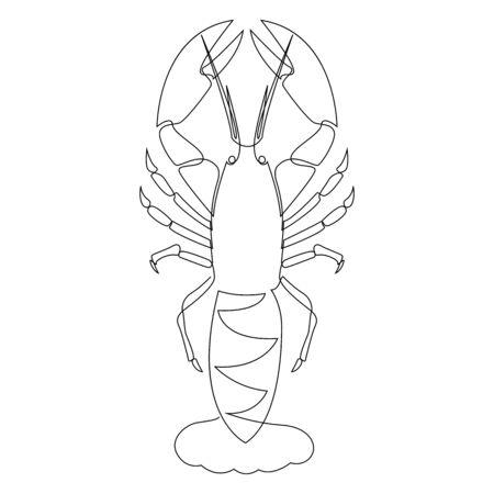 Illustration de homard dessinée par une ligne. Illustration vectorielle de style minimaliste Vecteurs