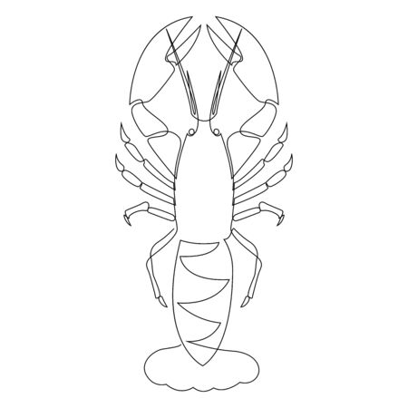 Lobster illustration drawn by one line. Minimalist style vector illustration Vetores