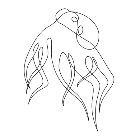 Octopus illustration drawn by one line. Minimalist style vector illustration