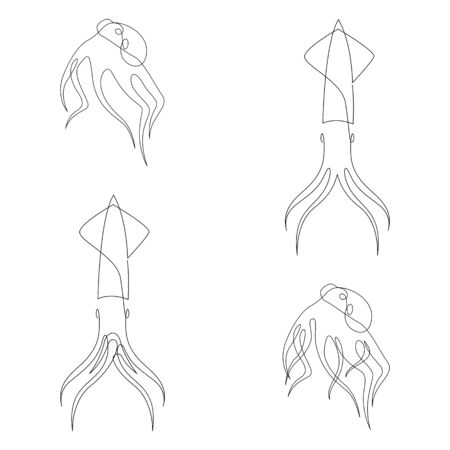 Octopus and squid illustration drawn by one line. Minimalist style vector illustration set