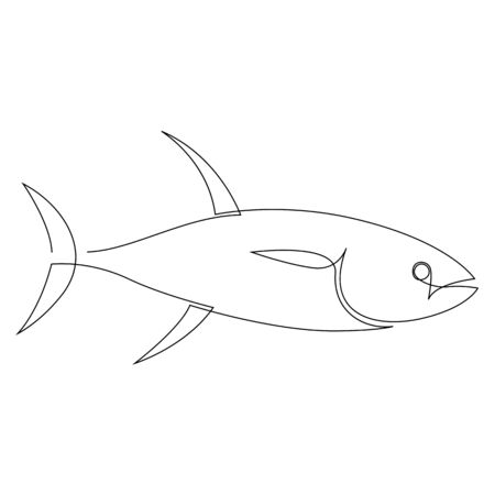 Tuna illustration drawn by one line. Minimalist style vector illustration