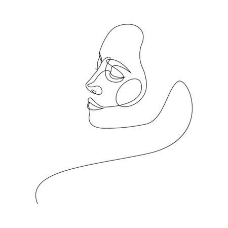 One line girl or woman portrait design. Hand drawn minimalism style vector illustration Vecteurs