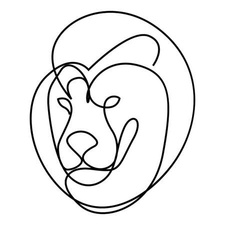 One line design silhouette of lion.hand drawn minimalism style.vector illustration Stock Illustratie