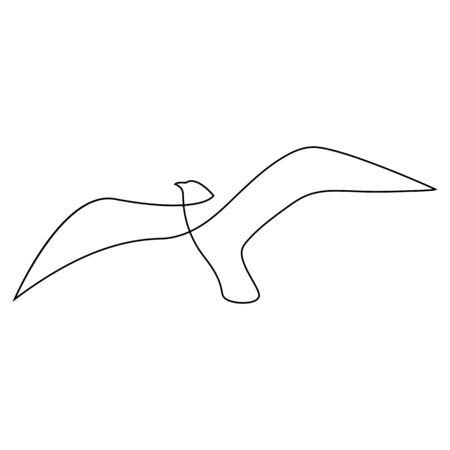 Eine Linie Möwe oder Möwe fliegt Design Silhouette. Handgezeichneter Minimalismus-Stil. Vektor-Illustration