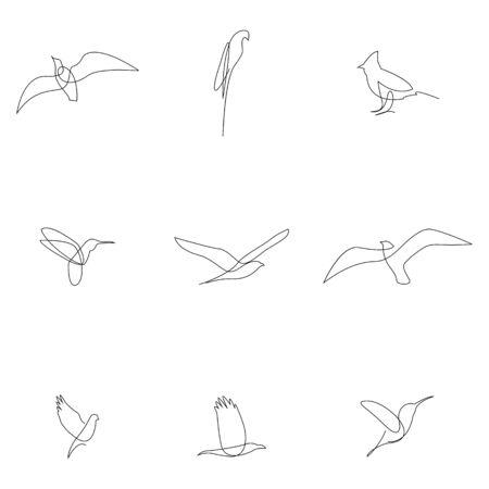 Ensemble d'oiseaux à une ligne. Collection d'oiseaux. Dessiné à la main. Illustration vectorielle