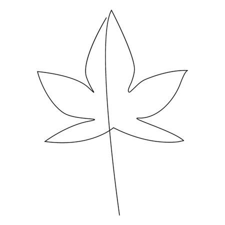 Autumn leaves one line drawing vector illustration 版權商用圖片 - 131694429