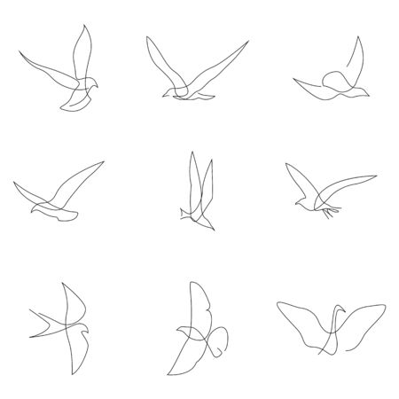 One line bird set. Birds collection. Hand drawn. Vector illustration