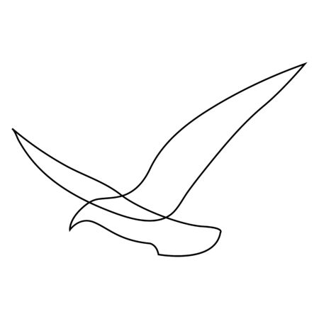 One line gull or seagull flies design silhouette. Hand drawn minimalism style. Vector illustration