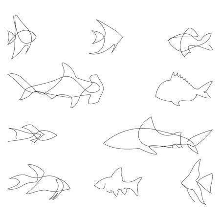 Sagoma di un pesce di una linea. Design del logo. Stile minimalista disegnato a mano. Illustrazione vettoriale. Logo