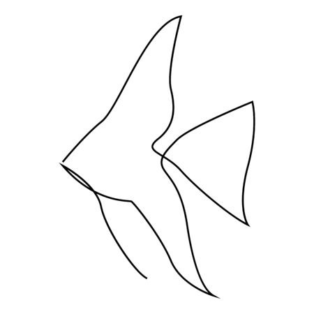 One line fish design silhouette. Logo design. Hand drawn minimalism style. Vector illustration.