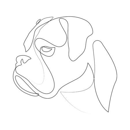 Boxer de línea continua. Ilustración de vector de perro de estilo minimalista de una sola línea