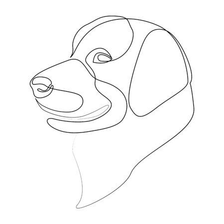 Continuous line Golden Retriever. Single line minimal style vector Labrador dog illustration Ilustração