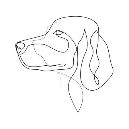 Setter irlandese in linea continua. Illustrazione vettoriale di un cane Setter in stile minimale a linea singola Vettoriali