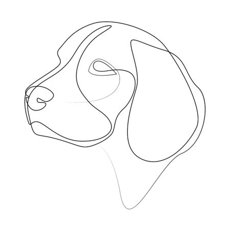 Continuous line Beagle. Single line minimal style dog vector illustration
