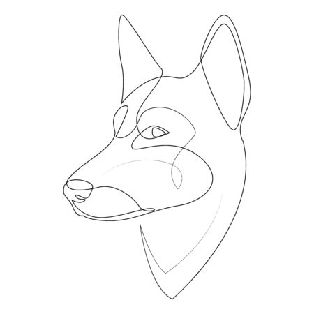 Continuous line German Shepherd. Single line minimal style Shepherd dog vector illustration