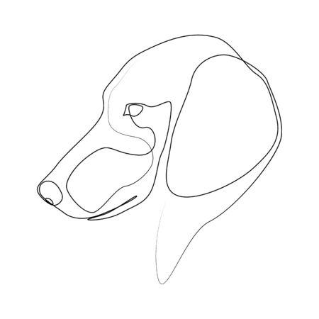 Continuous line Dachshund. Single line minimal style dog vector illustration Ilustração