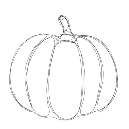 Pumpkin drawn by single line. Minimal style halloween. Vector illustration
