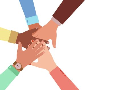 Hands of diverse group of people putting together. Concept of cooperation, unity, togetherness, partnership, agreement, teamwork, social community or movement. Flat style. Vector illustration. Illustration